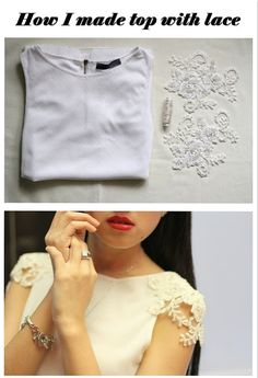 DIY lace sleeve top, to do with all that plain satin camisole blouses.
