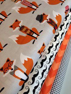 Fox fabric  bundle by Andi Hanna for Robert Kaufman- Fat Quarter Fabric Bundle, 4 total on Etsy, $12.00