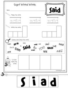 Sight Words Printables | The Lesson Cloud: Multi-Task Sight Word Workbook