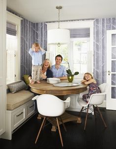 banquette..storage/ these handles to banquette storage could match our kitchen cabinets/ DONT want a kithen nook but want a long banquette seating on wall side of DR  w storage OR IF not in DR then on TOP Floor? http://houseandhome.com/design/quaint-cosy-eating-nook
