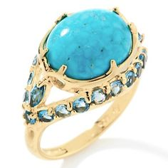 A BIT SMALLER LOOK, LOVELY. i LOVE TURQUOISE IN GOLD - Rarities: Fine Jewelry with Carol Brodie Crown Spring Turquoise and Blue Topaz Vermeil Ring