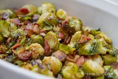 Roasted brussel sprouts with bacon, add a, little sugar, Parmesan cheese, and water chestnuts!