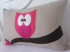Owl Pillow khaki color with pink owl by kaciadesigns on Etsy, $40.00
