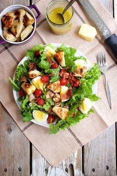 BELT Salad with Bagel Croutons and Parmesan Vinaigrette