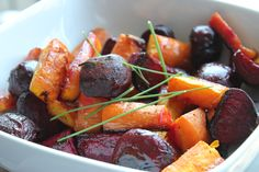Carrots, Beets, Chives, and Citrus Oil. Please click on the photo, then click once more in Yumgoggle to get to this delicious recipe =)