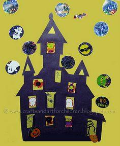 kid pics, house crafts, haunt hous, googly eyes, halloween house, haunted houses, halloween crafts, children, hous craft
