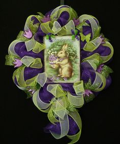Easter Greetings Mesh Wreath Spring Door Wreaths