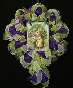 Easter Greetings Mesh Wreath Spring Door Wreaths easter greet, happi easter, spring door, wreath spring, easter bunni, mesh wreaths, easter bunny, door wreath, bunni wreath