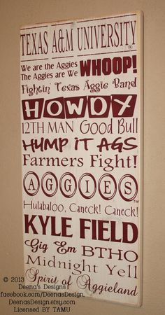 Texas A University Subway Art Sign, TAMU Aggies, Distressed Wood Signs, Wood Signage, Texas A and M University - Officially Licensed via Etsy