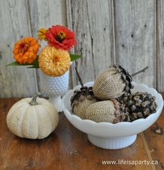 Acorns made from Easter eggs and pinecones