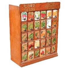 Reliable Seeds display cabinet, Sioux City Seed & Nursery Co., Sioux City, Iowa,  30 drwr., VG condi