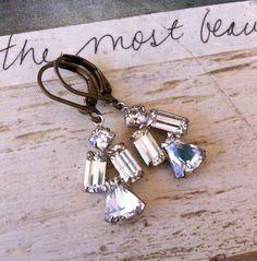 Eloise. vintage rhinestone drop earrings. by tiedupmemories, $18.00