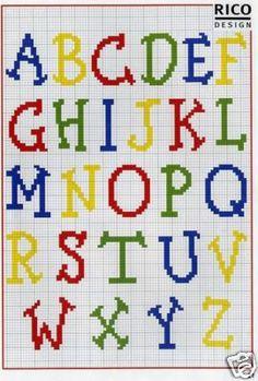 Punto de Cruz GRATIS: Abecedario Infantil de Colores, alphabet charted for needlepoint or cross stitch