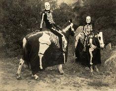vintage halloween, ghost rider, horses, halloween costumes, costume ideas, bone, skeletons, old photos, halloween photos