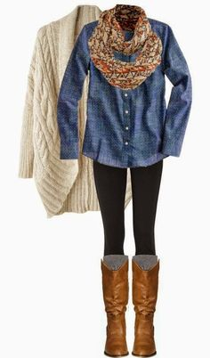 Casual/ Fall-Winter/ Jean button up, chunky knit cream cardigan, Aztec print scarf, black leggings, brown riding boots, grey socks
