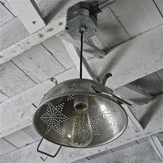 vintage colander light fixture...I have a colander exactly like this!