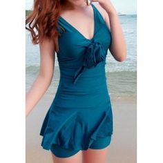 Cute V-Neck Ruffled One-Piece Swimsuit For Women