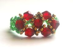 Beaded Ring, Red Christmas Seed Bead Ring
