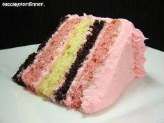 NEAPOLITAN CAKE - One of the best cakes I have ever eaten and the flavor is just like Neapolitan Ice Cream.