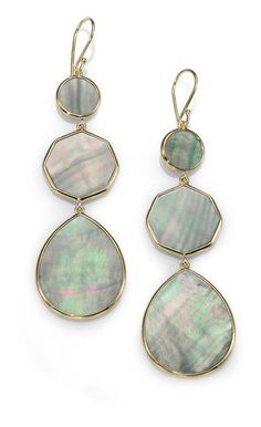 Ippolita Green Black Shell and 18k Yellow Gold Earrings