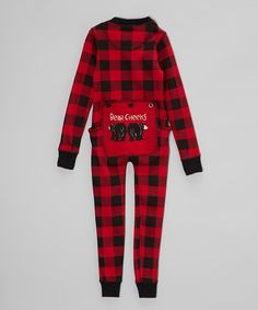 So Cute for a little one!!! Red & Black Plaid Bear Flapjack Pajamas - Toddler & Kids by Lazy One #zulily #zulilyfinds