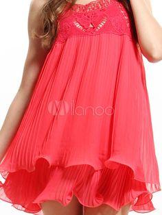 Red Lace Decoration Square Neck Sleeveless Chiffon Cotton Womens Tank Dress - Milanoo.com