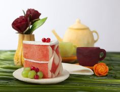 Watermelon Cake and Fruit Tea Set Carving by Tzipy Cohen tea sets, watermelon cake, fruit tea