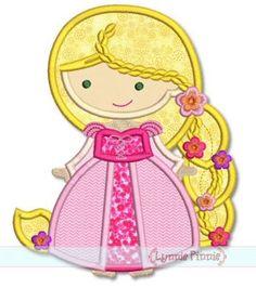 Cutie Princess as Rapunzel with Braid Applique 4x4 5x7 6x10 SVG