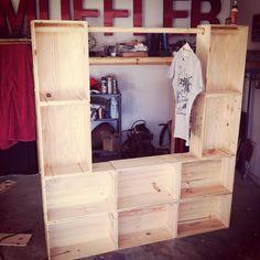wine crates, closet organization, wine boxes, market display, crate closet, crate cloth