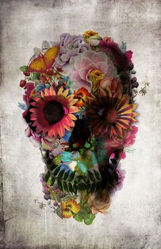 skull of flowers with a tiny butterfly