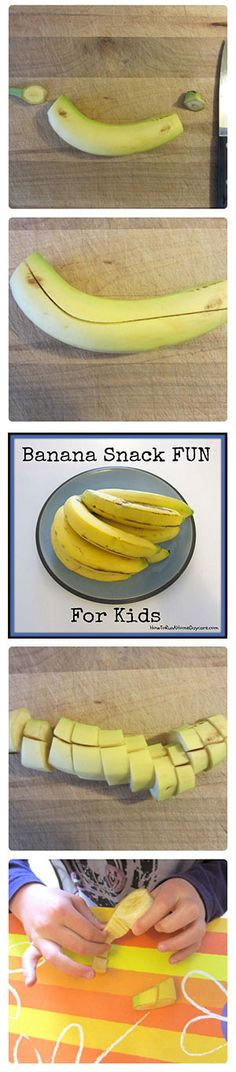 Banana Snack Fun http://howtorunahomedaycare.com Great for a picky eater!