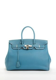Hermes   blue hean 35 cm togo birkin leather bag. One day... Maybe. Hard not to covet this one, it's so fabulous. It just LOOKS better made than any I've ever seen!