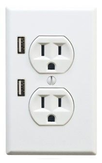 New socket design with USB outlets: Great for iPhone and iPod chargers. Want.