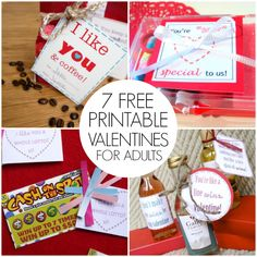 Fun free Valentines for adults! Things like lottery tickets, coffee, and wine!  For friends, co-workers, neighbors and family!