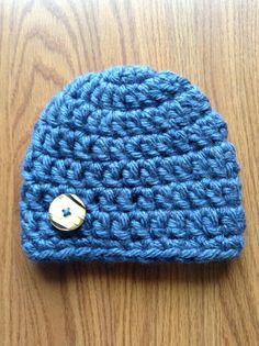 Baby Boy's Crochet Hat with Button