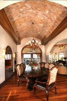 dining rooms, custom homes, dine room, ceiling design, austin texas, barrel, vaulted ceilings, dining room design, dining tables
