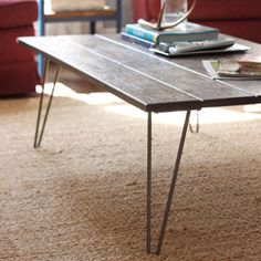 Quick DIY coffee table with hairpin legs