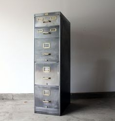 stripped metal filing cabinet...can use a sandblaster or paint stripper but seems like a lot of work- could also try to achieve this look by painting cabinet silver and hardware gold/brass