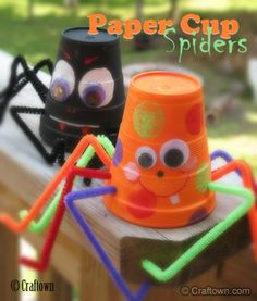 halloween idea, spiders, halloween crafts, cup spider, papers, kids, craft ideas, paper cups, pipe cleaner