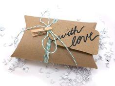 DIY Gift Wrap Kit - Kraft Pillow Box & Green Baker's Twine on Etsy, $3.00 wrap kit, baker twine, pillow box, idea, gift card, gift wrap, giftwrap, diy gifts, the holiday
