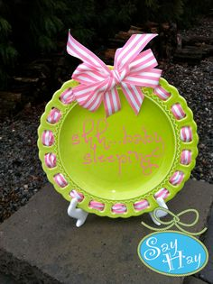 Monogram Ribbon Plate lime green and pink for nursery