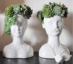 table decorations, cha cha, head planter, garden art, boxes, gardens, office plants, planters, succul