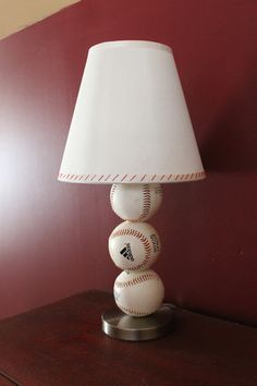 Paint Speckled Pawprints: Baseball Table Lamp