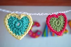 julia crossland ~ artist: Teeny Tiny Crochet Heart Bunting