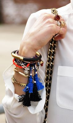 stacked bracelets, arm party, fashion chic, bangl, fashion styles, accessori, fashion blogs, tassel, arm candies