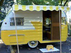 vintage trailers, color, funky junk, vintage travel trailers, vintag trailer, lemon yellow, happy campers, vintag camper, vintage campers