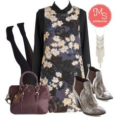 In this outfit: Veranda Vibrato Dress, Master of the Blouse Top, Layer It On Tights in Black, Captivating Cascade Necklace in Silver, Dressy Day Bag, Madhouse Bootie #floral #shiftdress #edgy #blouse #tights #party