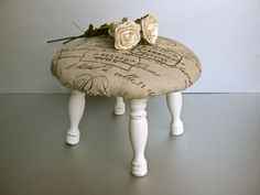 RESERVED for Joyce Deming-Vintage Stool, French Stool,Shabby and Chic, Rustic Farmhouse, Beige Decor, Cottage Decor, French Text. Burlap Diy, Rustic French Decor, Rustic Farmhouse, Vintage Clothing Decorating, Burlap Stools, Shabby Chic Stools, French Countri, Cottages, Shabbi