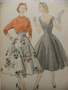 1954 Vintage McCalls Pattern 9802 Dress and by cheerfulpatterns