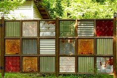idea, privacy screens, tin ceilings, metal, ceiling tiles, privacy fences, backyard, old tins, garden fences